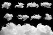 Leinwandbild Motiv Set of isolated clouds on black