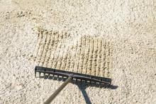 Sand Rake In A Golf Trap, Raki...
