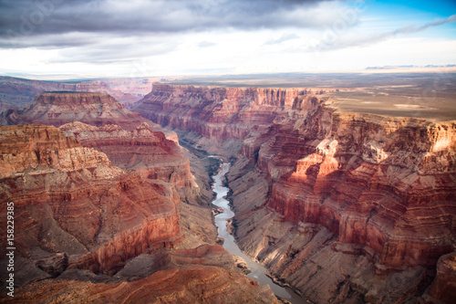Photo view over the south and north rim part in grand canyon from the helicopter