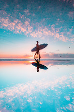 Surfer With Sunset