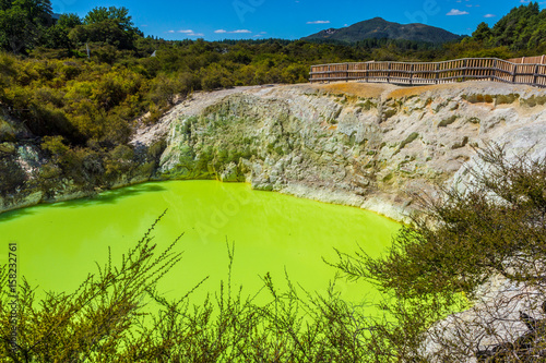 Poster Lime groen Devil Bath Pool at Wai-O-Tapu or Sacred Waters, Thermal Wonderland Rotorua New Zealand
