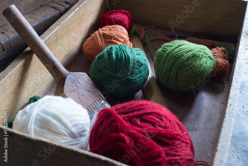 Fotografie, Obraz  Colored yarn balls