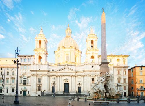 Fotografie, Obraz  church of Sant Agnese in Agone on Piazza Navona in Rome, Italy, retro toned