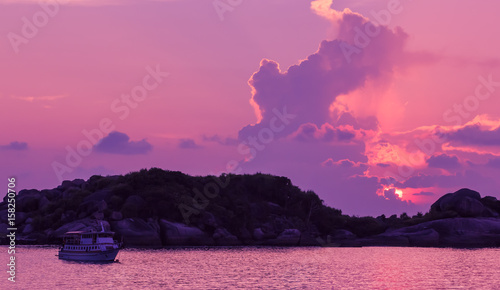 Foto op Canvas Candy roze Landscape of sunset with dramatic sky on background and rock mountain.