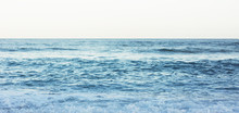 Waves Of Blue Quiet Ocean Coast Landscape. Background Sea Scape And Sand Beach Coastline. Panorama Horizon Perspective View Nature Hiliday. Travel Summer Concept, Backdrop Water Seascape, Mock Up