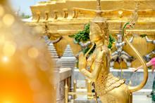 Golden Angel Statue Of Temple Of The Emerald Buddha (Wat Pra Kaew) And Grand Palace ,Bangkok,Thailand