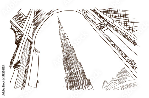 Carta da parati Hand drawn sketch of Burj Khalifa Dubai in Vector illustration.