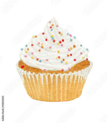 Photo  Watercolor cupcakes with cream and decorative sprinkles