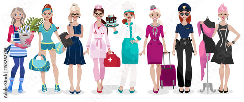 In de dag Kinderkamer Set of different professions: doctor, fashion designer, florist, police officer, chef, stewardess, fitness trainer, secretary. Vector illustration isolated on white background.