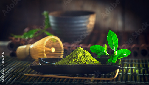 Matcha tea powder. Organic green matcha tea ceremony