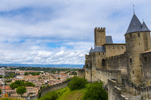 Poster Orange Castle of Carcassonne, France