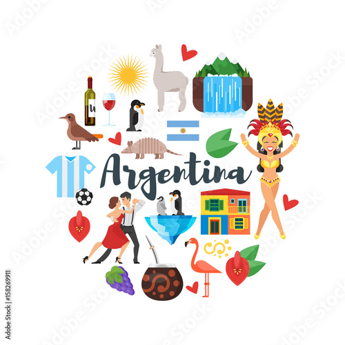 Flat Style Round Composition Of Argentina National Cultural Symbols