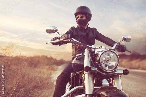 Fotografie, Obraz Retro Motorbike Rider