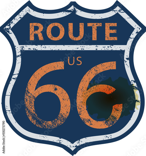 Papiers peints Route 66 vintage route 66 road sign,retro grungy vector illustration
