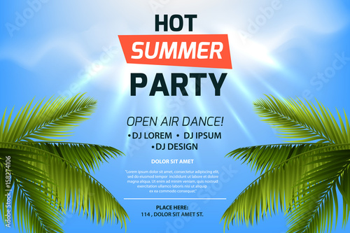 Hot Summer Party Invitation Concept Text On Tropic Background Blue Sky And Palm Leaves
