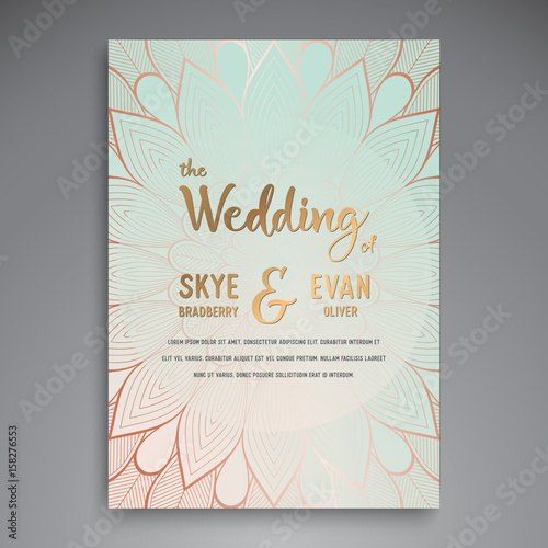 Staande foto Retro sign Vector luxury wedding invitation with mandala