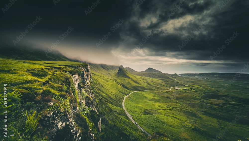 Fototapety, obrazy: Dramatic Rainy Clouds over Scottish Highlands in the Isle of Skye