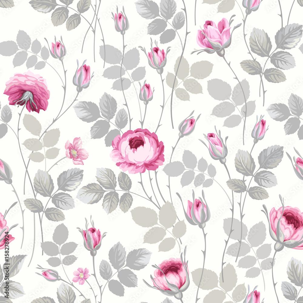 kwiatowy wzór z róż w pastelowych kolorach