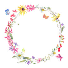 Watercolor Round Frame With Wildflowers