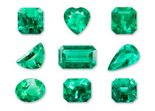 Set Of Realistic Emerald Isolated On White Background