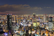 Osaka city night lights, cityscape downtown night view, Japan