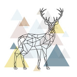 Fototapeta Teenage - Abstract polygonal deer. Geometric hipster illustration. Reindeer with side view. Scandinavian style.