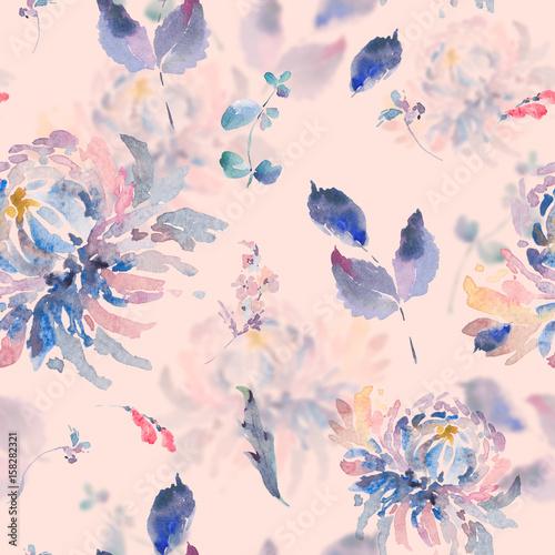 Leinwandbilder - Floral watercolor seamless pattern with chrysanthemums