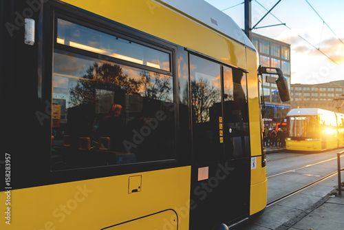 Poster  Yellow tram on the streets of Berlin