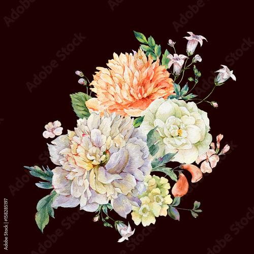Leinwandbilder - Watercolor blooming peonies and wild flowers