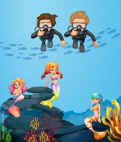Recess Fitting Wild West People diving underwater with mermaids