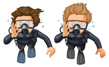 Two Scuba Divers With Hand Gesture