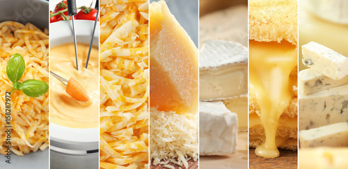Poster Produit laitier Collage with different kinds of cheese