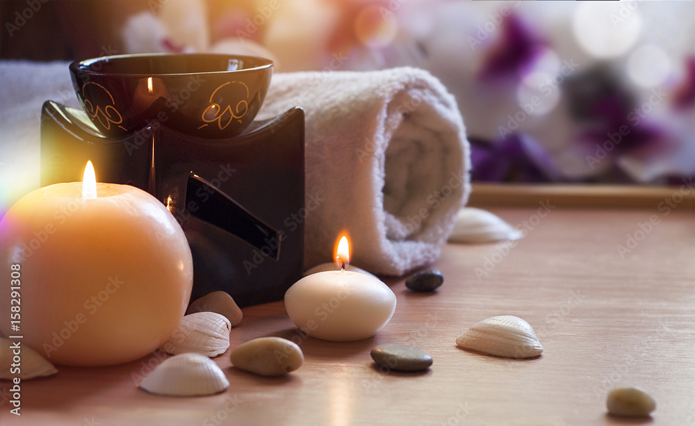 Fototapety, obrazy: Aroma Lamp With Burning Candle. Aromatherapy. Spa Room