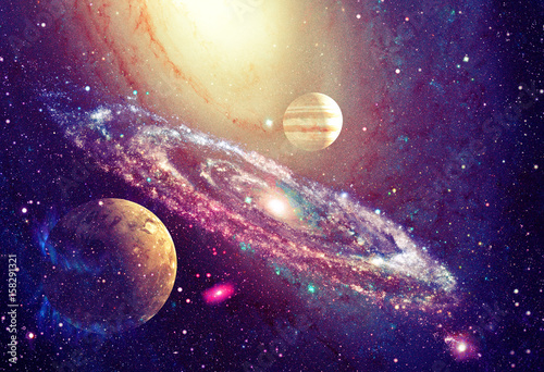 Foto op Aluminium Heelal Spiral galaxy and planet in outer space