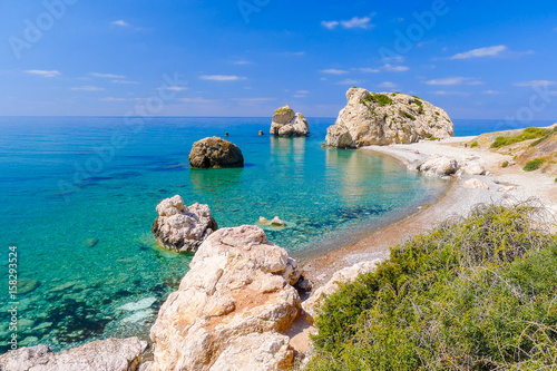 Photo Stands Cyprus Rock of Aphrodite, beautiful beach and sea bay, Cyprus island