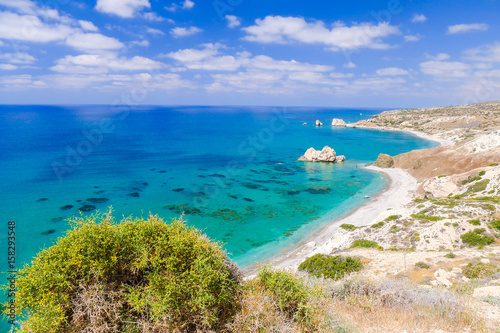 Garden Poster Cyprus Rock of Aphrodite, beautiful beach and sea bay, Cyprus island