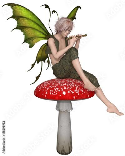 zielony-magiczny-stworek-grajacy-na-flecie-na-muchomorze