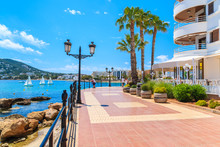 Coastal Promenade Along Sea In Santa Eularia Town, Ibiza Island, Spain