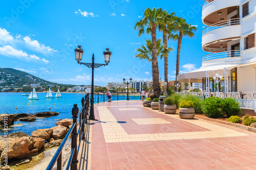 Obraz na płótnie Coastal promenade along sea in Santa Eularia town, Ibiza island, Spain