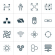 Machine Learning Icons Set. Collection Of Branching Program, Related Information, Mechanism Parts And Other Elements. Also Includes Symbols Such As Mainframe, Arrow, Structure.
