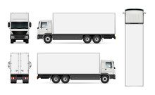 Semi Truck Template For Car Branding And Advertising. Isolated Cargo Vehicle Set On White. All Layers And Groups Well Organized For Easy Editing And Recolor. View From Side, Front, Back, Top.