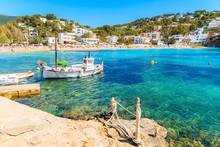 Fishing Boat In Cala Vadella Bay, Ibiza Island, Spain