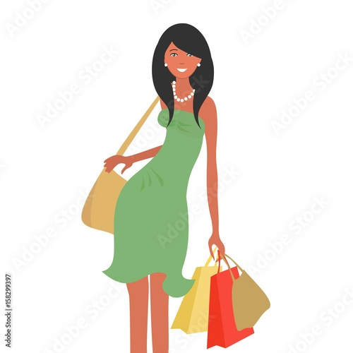 Cadres-photo bureau Avion, ballon Girl in green dress with shopping bags, isolated on a white background. Shopping concept. Vector illustration.