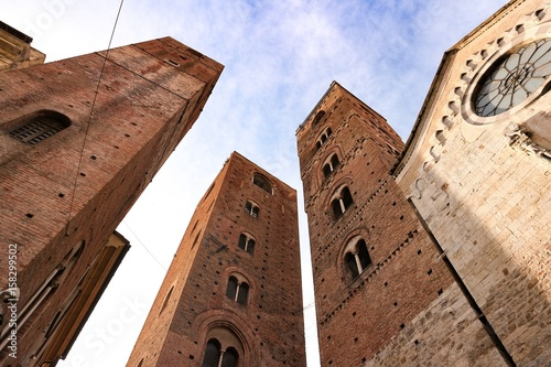 Old historic towers in center of city Wallpaper Mural
