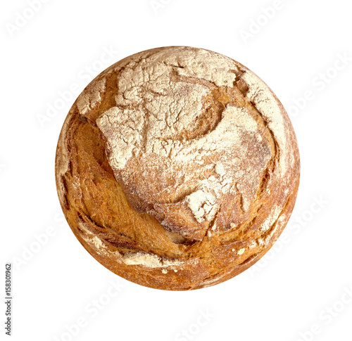 Tuinposter Brood Perfect circular loaf on white background