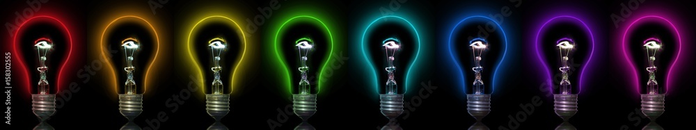 Fototapety, obrazy: Eight multicolored light bulbs on a black background. Incandescent lamp. Light bulb. Colors of rainbow