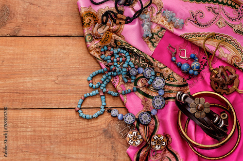 boho style and hippie fabrics, bracelets, necklaces