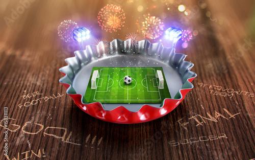 Mistrzostwa piłki nożnej w czapce Czerwonego Piwa. Renderowania 3d