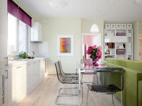 Modern Urban Contemporary Scandinavian Studio open living room ...