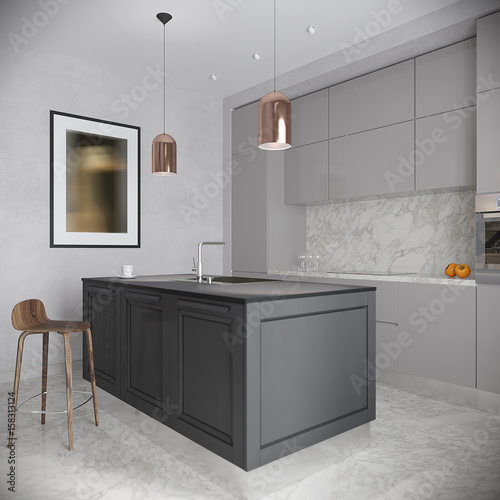 Traditional White Kitchen Design 3d Rendering: Modern Urban Contemporary Gray Kitchen Interior Design